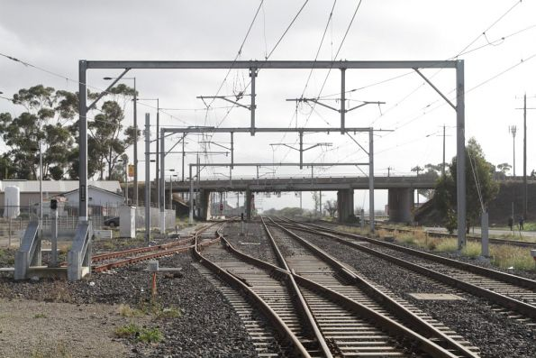 Tracks leading into Craigieburn Yard at the down end of the station