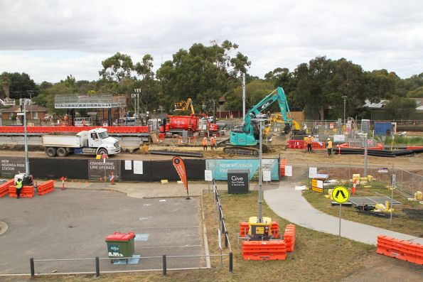 Original Merinda Park station demolished, and the track being relayed beside the future down platform
