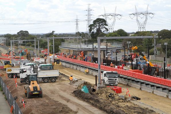 Old station gone at Merinda Park, future down station building well underway