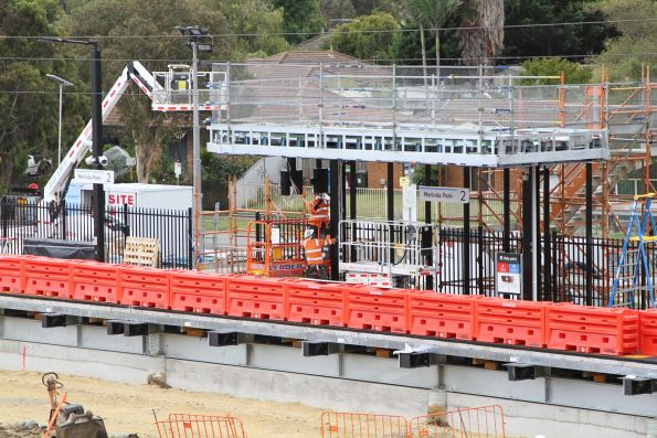 Old station gone at Merinda Park, future down station entrance well underway