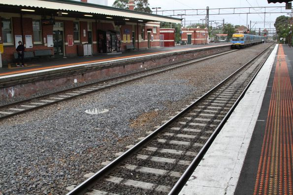 New stanchion bases in place between platform 1 and 2 at Caulfield