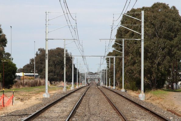 Rebuilt overhead wiring on the Pakenham line at Progress Street in Dandenong South