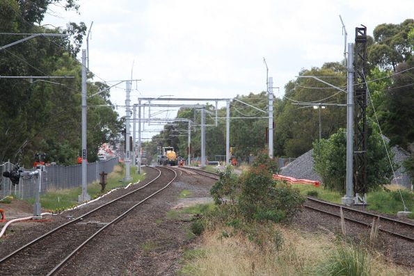 New overhead stanchions in place at Sandown Park station