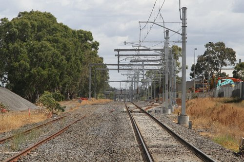 Down end of the Cranbourne line track duplication at Greens Road