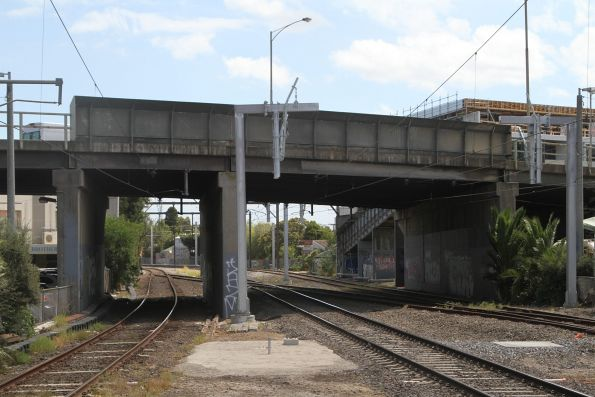 New stanchions in place at Oakleigh station, but the overhead wires have yet to be changed over