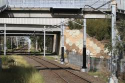 Traction power feeders pass beneath the low bridges at Yarraman station