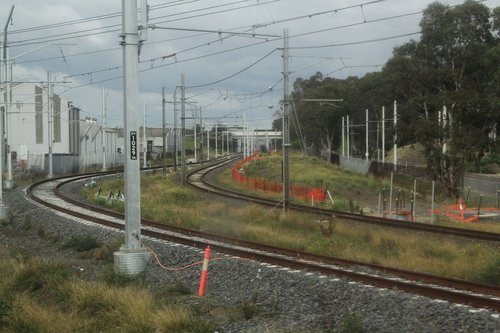 Duplicated track on the Cranbourne line awaiting commissioning at Dandenong