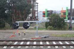 New tilt mast signals awaiting commissioning at the down end of Oakleigh station