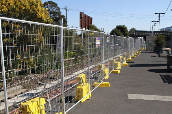 Former platform 1 at Oakleigh station fenced off and track removed