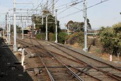 New overhead gantries commissioned on the Frankston line tracks at Caulfield