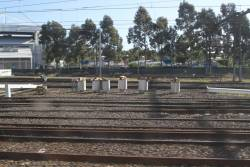 Piling works for new stanchion along the Dandenong line tracks at Richmond Junction