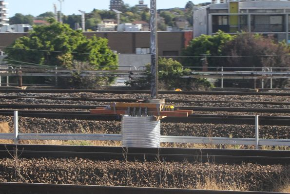 Piling works for new stanchion along the Dandenong line tracks at Richmond