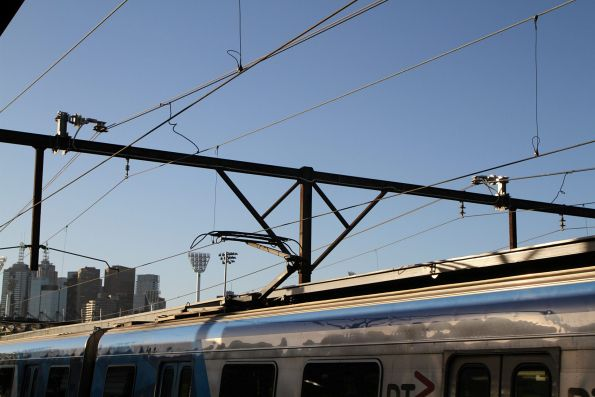 Additional traction power feeders above the tracks at Richmond station