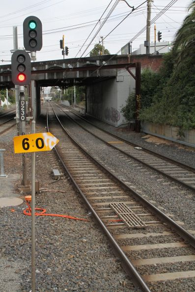 TPWS grid installed for signal D230 on the Caulfield Local tracks at Armadale station