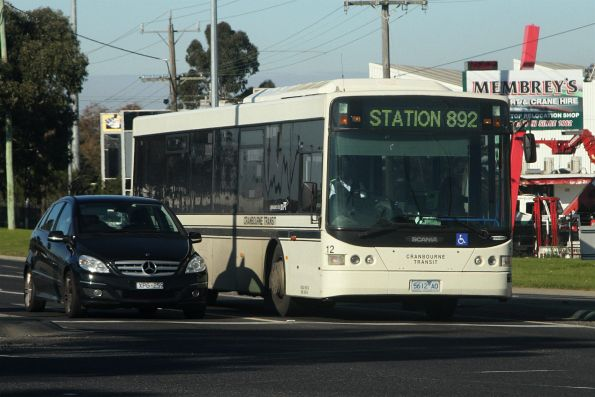 Cranbourne Transit #12 5612AO on route 892 at South Gippsland Highway and Dandenong Bypass