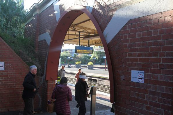 Steel arch reinforces the brickwork at the entrance to Armadale station platform 1