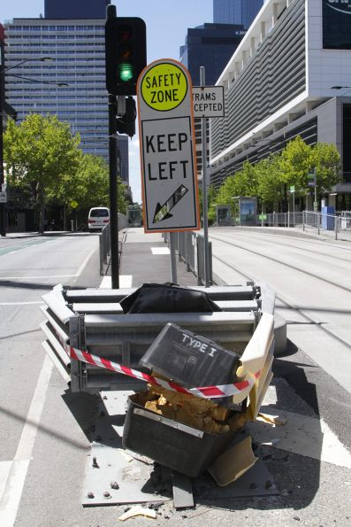 Damaged tram stop impact barrier on Collins Street at Batmans' Hill