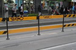 More damaged tram stop fencing at the State Library stop on Swanston Street