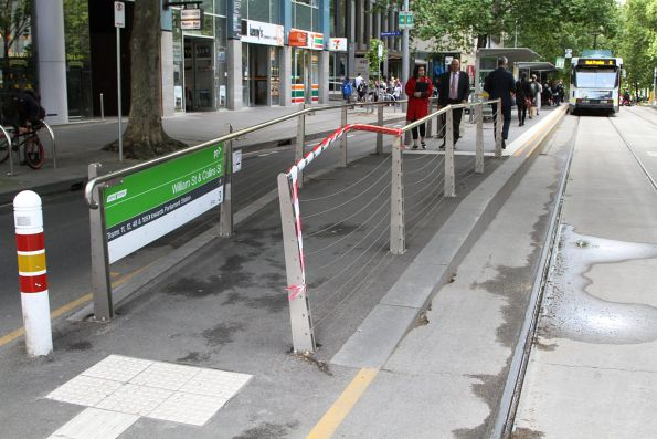 Damaged tram stop fence at Collins and William Street