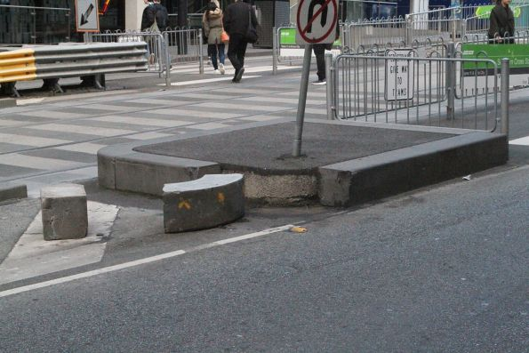 Loose bluestone kerbing at the Batman's Hill tram stop
