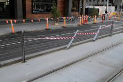 Damaged tram stop fence at Sturt Street and Southbank Boulevard