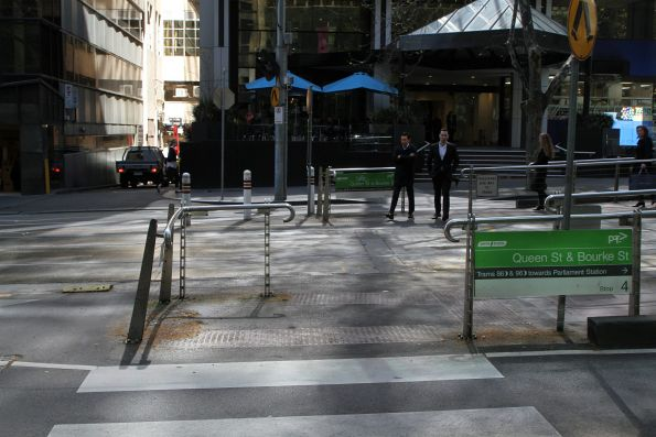 Bent tram stop fence at Bourke and Queen Street