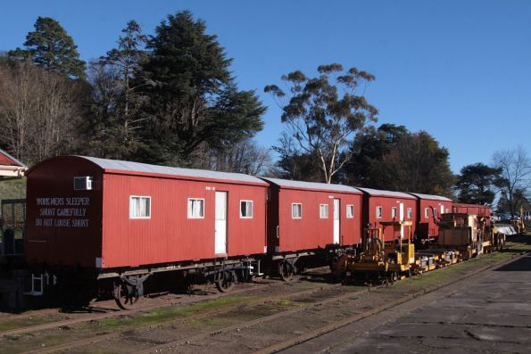 Workmans sleepers stabled in the yard at Daylesford