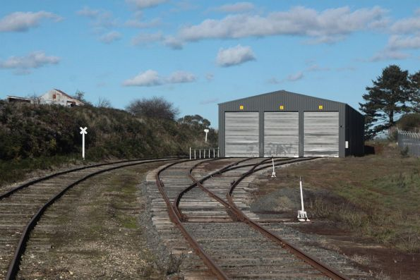 New three road storage shed at the up end of Daylesford station