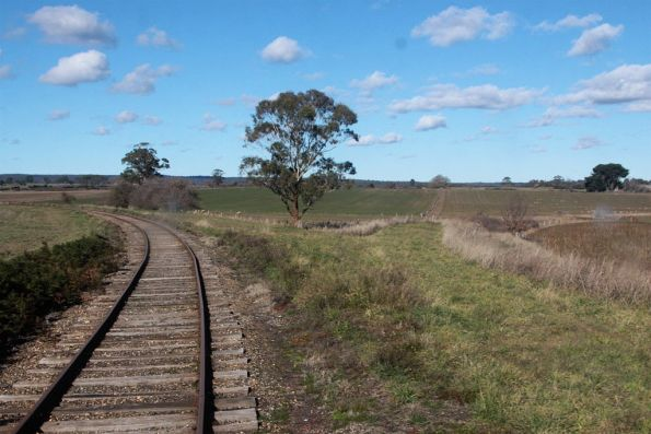 Former alignment of the line towards Ballarat curves off to the right