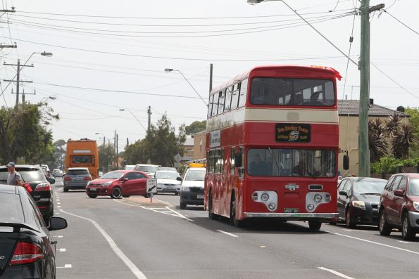 Dee Decker Tours bus BS01BT on a charter at Altona