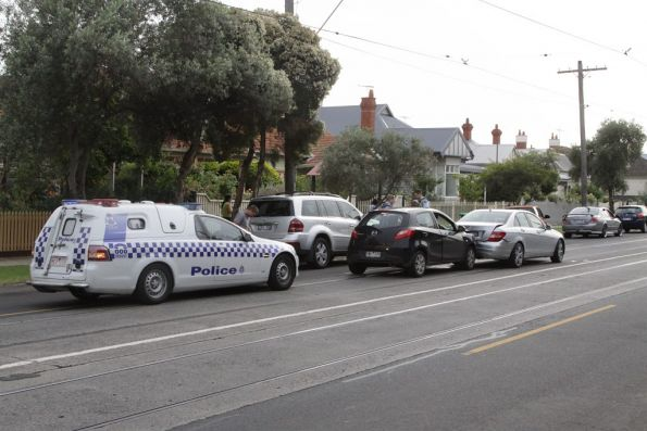 Car crash and tram delays on Maribyrnong Road, December 2012