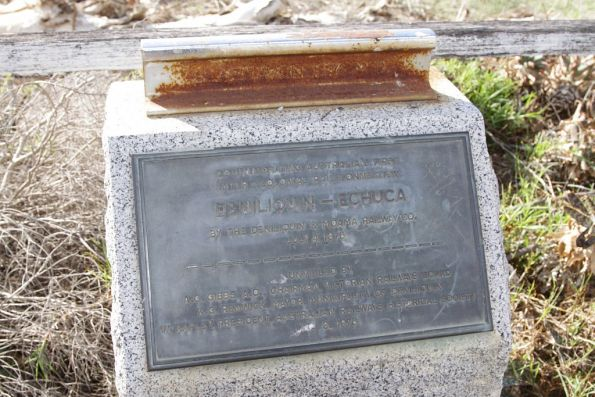 Plaque unveilled in 1976, commemorating the centenary of the opening of the Deniliquin & Moama Railway Co line