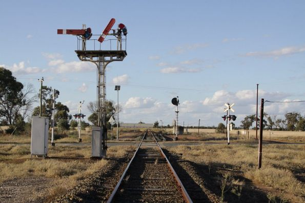 Semaphore signals for down trains approaching Barnes