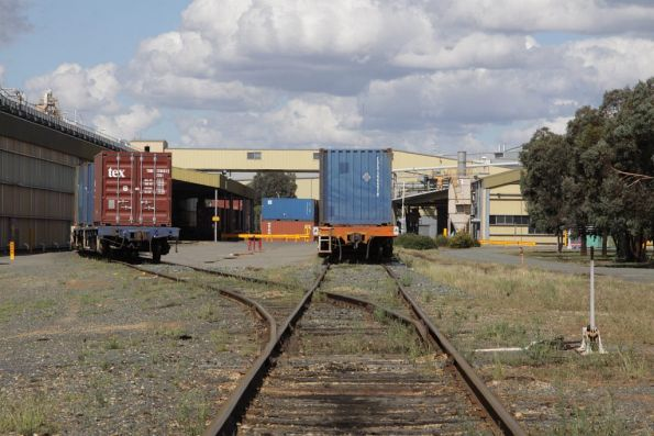 Loaded container wagons split into two rakes at the Sunrice plant at Deniliquin