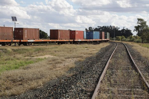 Loaded wagons being placed onto the main line at Deniliquin
