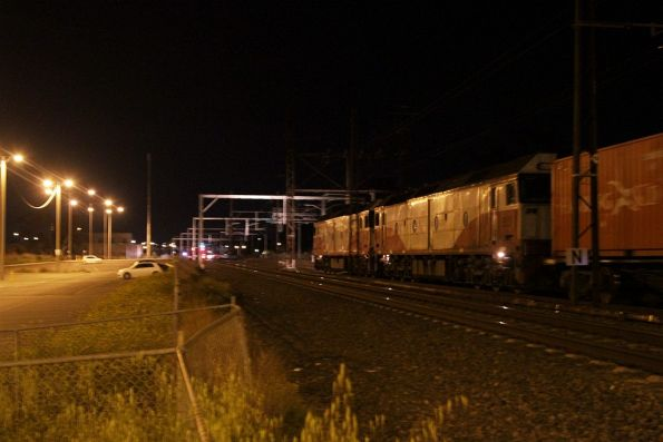 G532 and G521 lead the up Deniliquin freight through Albion station