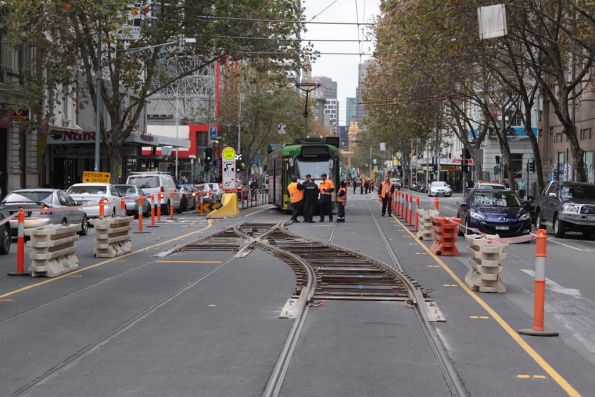 Temporary crossover north of La Trobe Street, apparent cause of the derailment