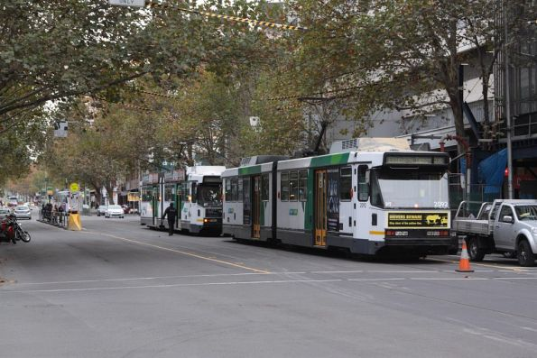 Lineup of southbound trams on Elizabeth Street stuck behind the derailment