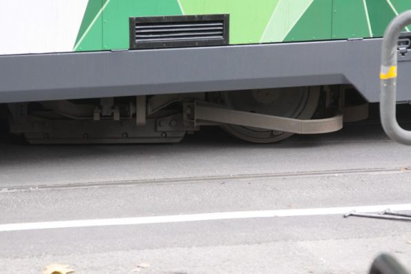Grooves in the asphalt where the trailing bogie derailed