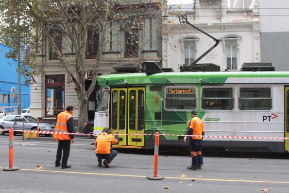 Derailed tram on Elizabeth Street, May 2013