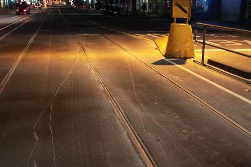 Gouge marks in the asphalt from the derailed bogie