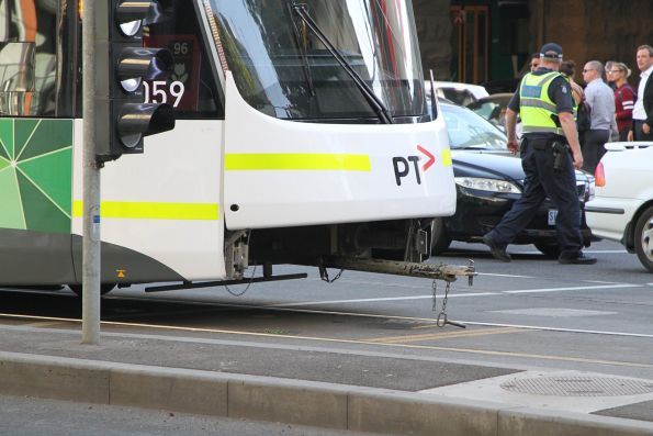 Towbar in place at the tail end of the tram