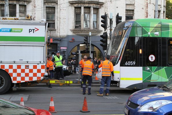 Derailed tram at Spencer and Flinders Street, March 2019