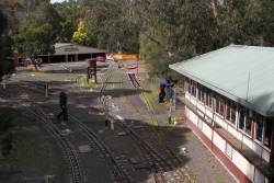 Overview of Diamond Valley 'B' signal box and the engine sheds