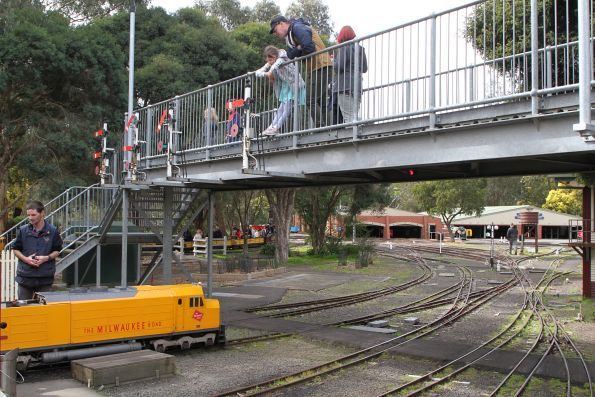 Footbridge over the tracks at Diamond Valley station