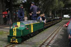 Australian National locomotive 7256 paused at Pine Creek station