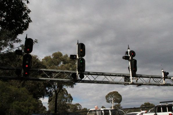 LED signals on a gantry at Meadmore Junction