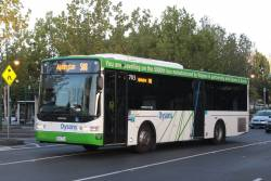 Dysons bus #703 rego 8026AO departs the Moonee Ponds bus interchange on a route 508 service