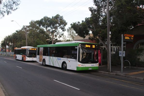 Dysons bus #704 rego 8027AO about to depart Bell Street in Coburg on a route 513 service to Glenroy