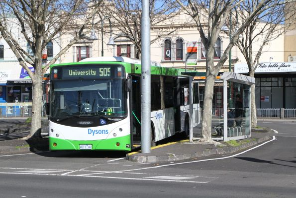 Dysons bus 4013AO on route 505 at Moonee Ponds Junction